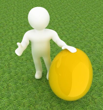 holds: 3d small person holds the big Easter egg in a hand. 3d image. On green grass Stock Photo