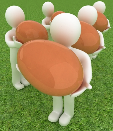 big and small: 3d small persons holds the big Easter egg in a hand. 3d image. On green grass