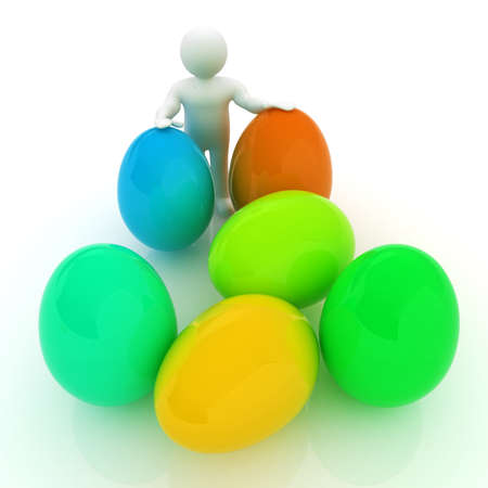 holds: 3d small person holds the big Easter egg in a hand. 3d image.