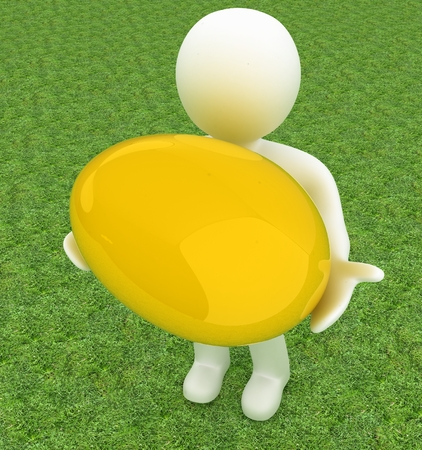3d small person: 3d small person holds the big Easter egg in a hand. 3d image. On green grass Stock Photo