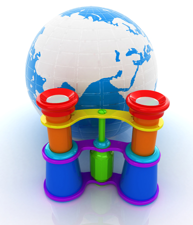 Worldwide search concept with Earth Stock Photo