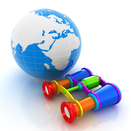 optical people person planet: Worldwide search concept with Earth Stock Photo