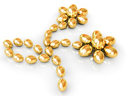 gold eggs: Gold Eggs in the shape of a flower.