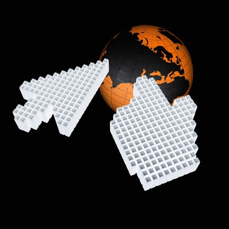 mouse cursor: Link selection computer mouse cursor and Earth - Glodal internet concept Stock Photo