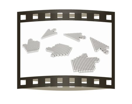 mouse cursor: Set of Link selection computer mouse cursor on white background. The film strip