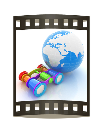 optical people person planet: Worldwide search concept with Earth. The film strip