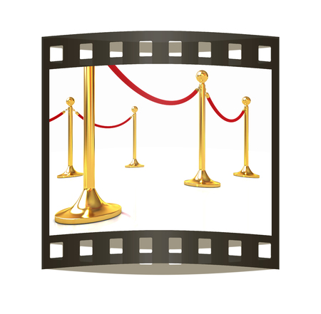 rope way: 3d illustration of path to the success. The film strip Stock Photo