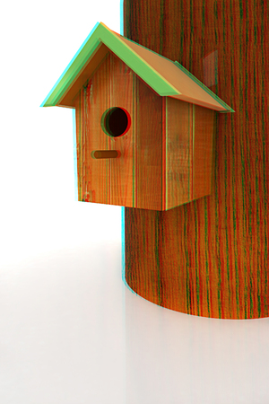 Nest box birdhouse on a white background. 3D illustration. Anaglyph. View with redcyan glasses to see in 3D.