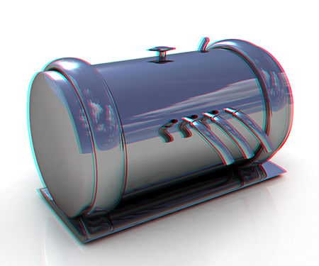 3d Abstract chrome metal pressure vessel. 3D illustration. Anaglyph. View with redcyan glasses to see in 3D. Stock Photo