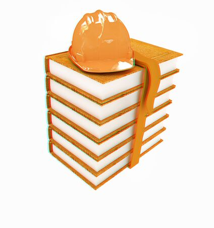 literary man: Stack of leather technical book with belt and hard hat on white background. 3D illustration. Anaglyph. View with redcyan glasses to see in 3D.