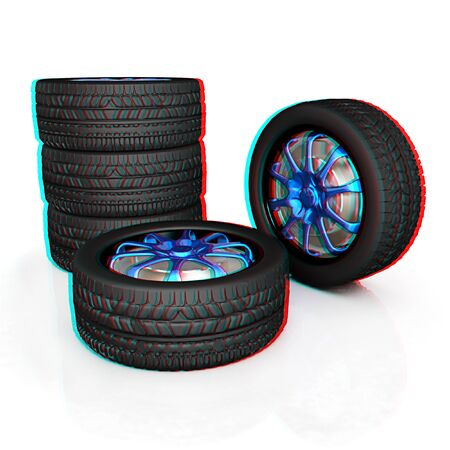titanic: car wheel illustration on white background. 3D illustration. Anaglyph. View with redcyan glasses to see in 3D. Stock Photo