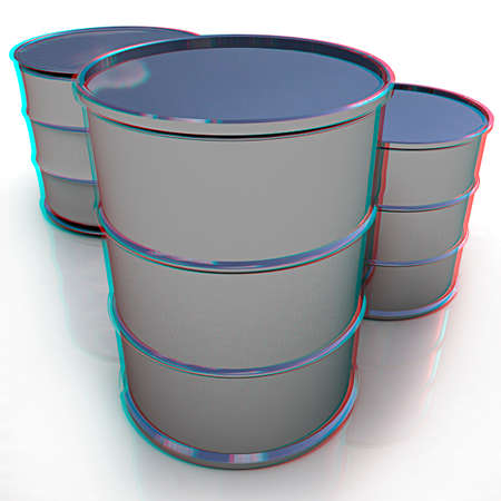 anaglyph: Metal barrels on white background. 3D illustration. Anaglyph. View with redcyan glasses to see in 3D.