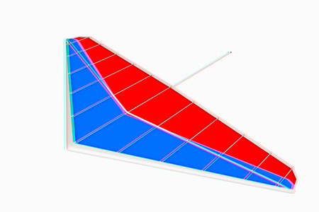 hang glider: Hang glider isolated on a white background. 3D illustration. Anaglyph. View with redcyan glasses to see in 3D.