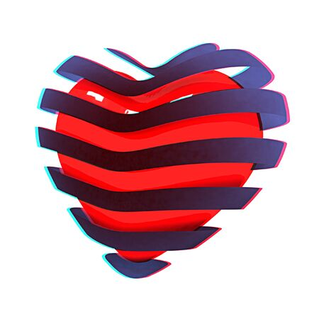 anaglyph: 3d beautiful red glossy heart of the bands on a white background. 3D illustration. Anaglyph. View with redcyan glasses to see in 3D. Stock Photo