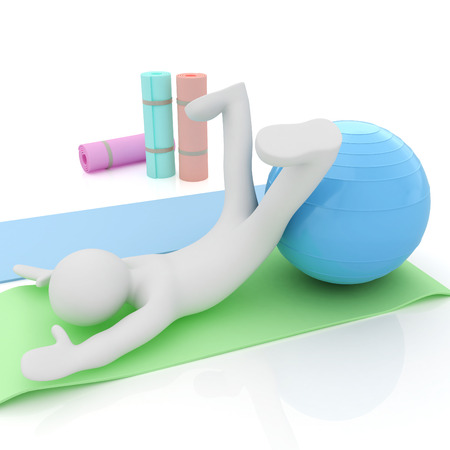 fitness ball: 3d man on a karemat with fitness ball. 3D illustration
