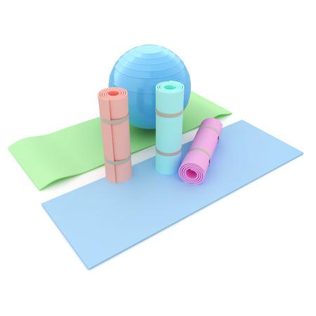 karemat: karemat and fitness ball. 3D illustration