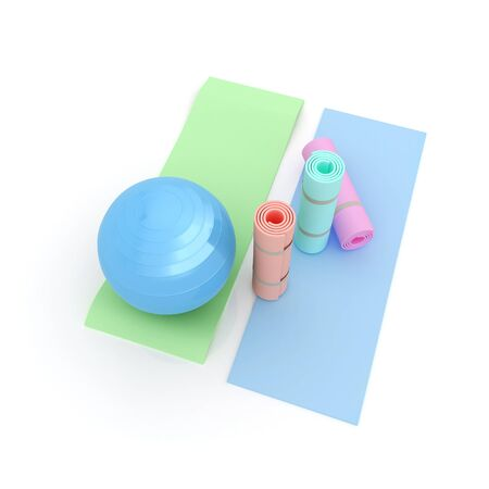 pilates ball: karemat and fitness ball. 3D illustration