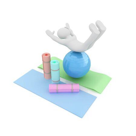 karemat: 3d man on a karemat with fitness ball. 3D illustration