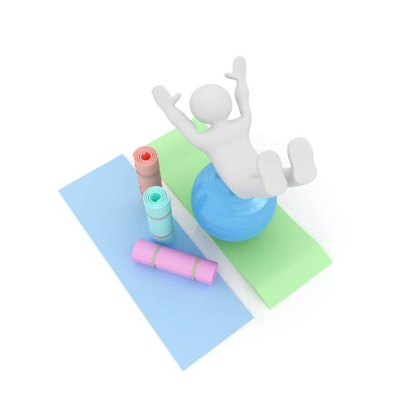 3d man: 3d man on a karemat with fitness ball. 3D illustration