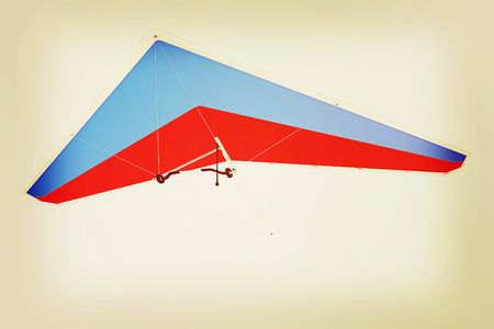 hang glider: Hang glider isolated on a white background. 3D illustration. Vintage style.