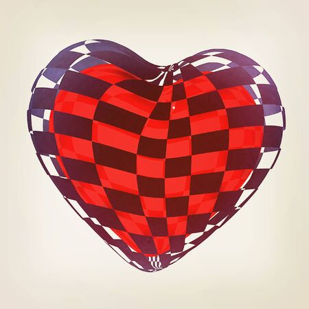3d beautiful red glossy heart of the bands on a white background. 3D illustration. Vintage style.