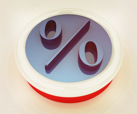 Discount button with percent symbol on a white background. 3D illustration. Vintage style.