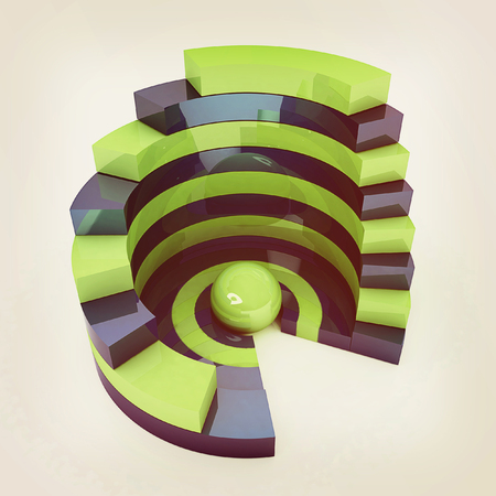 Abstract structure with green bal in the center on a white background. 3D illustration. Vintage style.