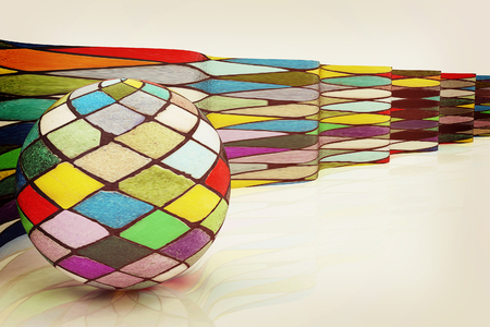 mosaic background: The mosaic ball against the background of colorful waves. 3D illustration. Vintage style. Stock Photo