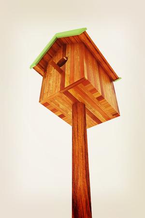 Nest box birdhouse on a white background. 3D illustration. Vintage style.