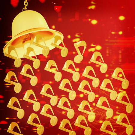Toll. Gold bell on winter or Christmas style background with a wave of stars. 3D illustration. Vintage style.
