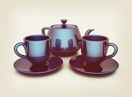 3d cups and teapot on a white background. 3D illustration. Vintage style.