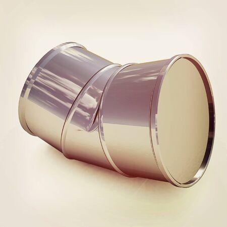 steel drum: bent barrel on a white background. 3D illustration. Vintage style. Stock Photo