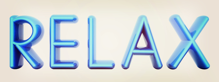 textcloud: Blue word Relax isolated on white background. 3d illustration. 3D illustration. Vintage style.