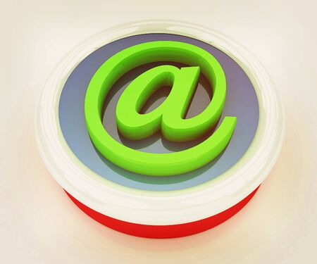 3d button email Internet push on a white background. 3D illustration. Vintage style.