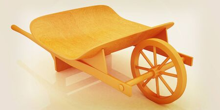 hauling: wooden wheelbarrow on a white background. 3D illustration. Vintage style.