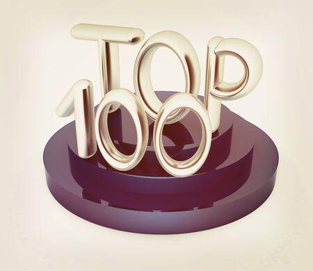 one hundred: Top hundred icon on white background. 3d rendered image. 3D illustration. Vintage style.