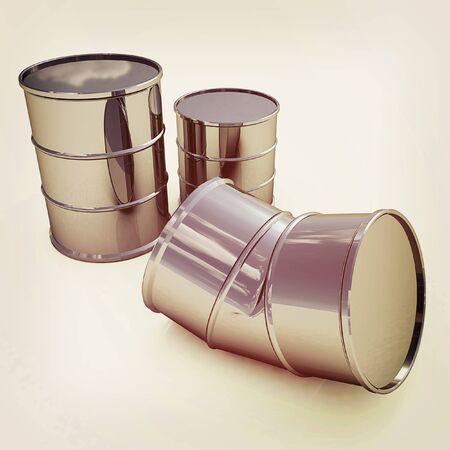 oil drum: bent barrel on a white background. 3D illustration. Vintage style. Stock Photo
