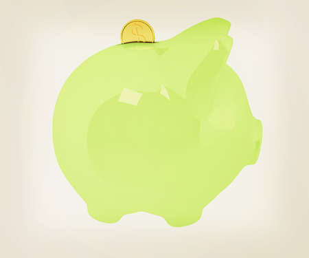 path to wealth: piggy bank and falling coins on white background. 3D illustration. Vintage style.