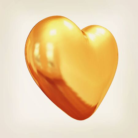 metall: 3d glossy metall heart isolated on white background. 3D illustration. Vintage style. Stock Photo
