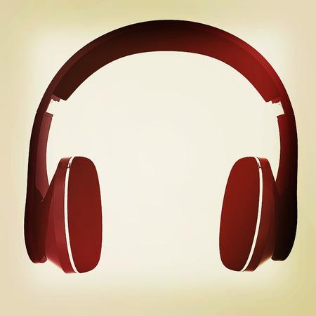 soundtrack: headphones on a white background. 3D illustration. Vintage style.
