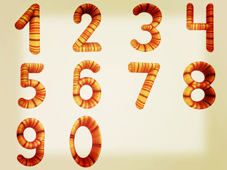 Wooden numbers set on a white background. 3D illustration. Vintage style.
