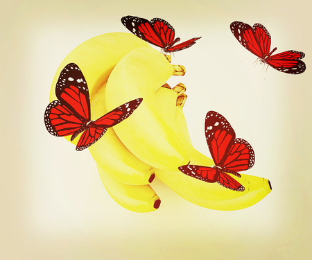 Red butterflys on a bananas on a white background . 3D illustration. Vintage style. Stock Photo