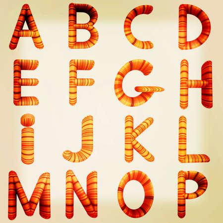 prinitng block: Wooden Alphabet set on a white background. 3D illustration. Vintage style.