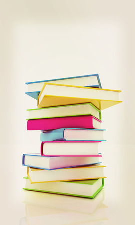 learning series: colorful real books on a white background. 3D illustration. Vintage style. Stock Photo