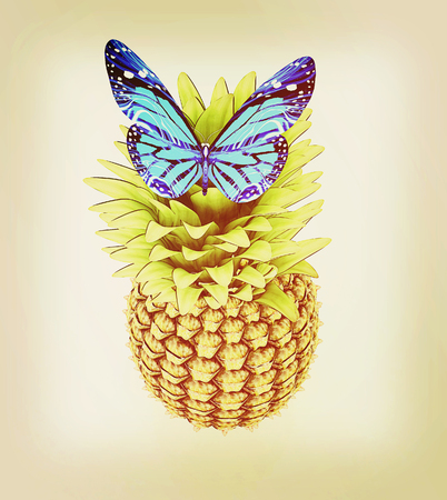 Blue butterflys on a pineapple on a white background . 3D illustration. Vintage style.
