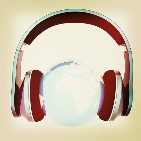 soundtrack: earth with headphones. World music concept isolated on white . 3D illustration. Vintage style. Stock Photo
