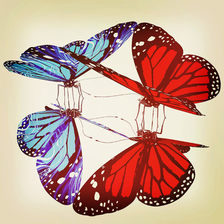 Butterflies on a white background. 3D illustration. Vintage style. Stock Photo
