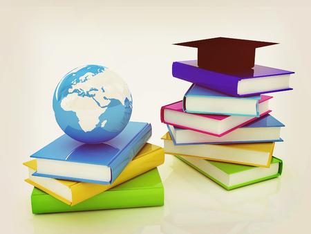 Global Education. 3D illustration. Vintage style. Stock Photo