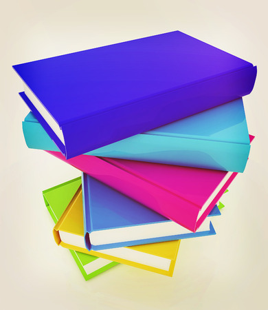 colorful real books on a white background. 3D illustration. Vintage style. Stock Photo