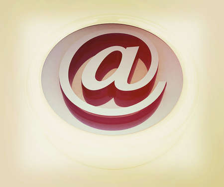 3d button: 3d button email Internet push  on a white background. 3D illustration. Vintage style.